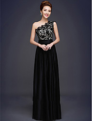 Formal Evening Dress A-line One Shoulder Floor-length Lace / Stretch Satin with