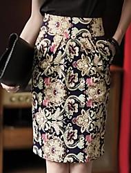 elegante impresión floral hermoso noble de las mujeres de talle alto faldas delgadas