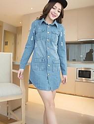 prendas de vestir exteriores de las mujeres ocasionales medio de manga larga larga (denim)