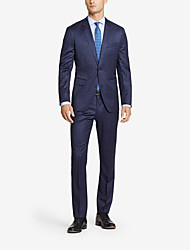 Dark Blue Checkered Tailored Fit Suit In Cashmere&Wool Two-Piece