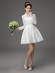 A-line Knee-length Wedding Dress - High Neck Lace