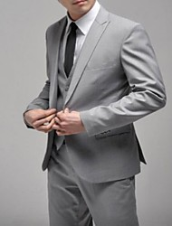 Men's Formal Wedding Gray Suit (Blazer And Pants) One Button Gray Slim Casual Men Business Suits Jacket