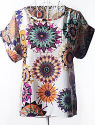 huimo Modeblumendruck Kurzarm-Shirt