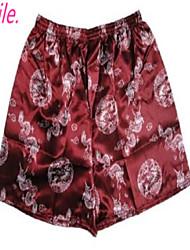 Men's Silk Sleepwear Underwear China Dragon Homewear Underpants Boxers Size L,XL,XXL Free Shipping