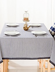 "Navy Strip Rectangular Table Cloth, Polyester 52""x70"", 55x95"""