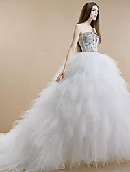 Princess Strapless Cathedral Train Tulle Stretch Satin Wedding Dress with Beading Tiered