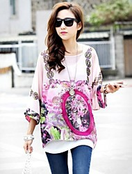 Women's Casual Colorful Print Loose Bohemian Chiffon Batwing Sleeve Blouse