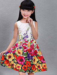 Girls Fashion Flower Print Sundress Party Birthday Princess Kids Clothing Princess Dresses(100% Cotton)