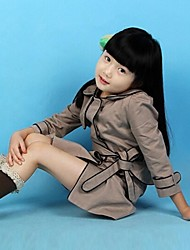 Girl's Spring/Fall Fashion Ruffle back with Waist Belt Long Sleeve Trench Coats