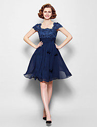A-line Mother of the Bride Dress - Dark Navy Knee-length Short Sleeve Chiffon/Lace