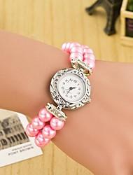 Femme Montre Tendance Montre Bracelet Bracelet de Montre Quartz Cuir Bande Perles Bayadère Blanc Rouge Bleu Rose