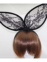 Black Rabbit Ears Lace Headband