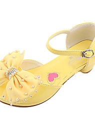 Girls' Shoes Casual Leatherette Heels Spring / Summer / Fall Round Toe Low Heel Bowknot / Magic Tape Yellow