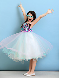 LAN TING BRIDE Knee-length Tulle Junior Bridesmaid Dress Ball Gown Halter Natural with Flower(s)