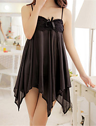 Damen Roben Besonders sexy Anzüge Nachtwäsche einfarbig Eis-Seide Weiß Lila Schwarz