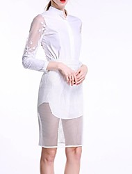 Women's Stand Collar Lace shirt And  Mesh Skirt Suit(Blouse & Skirt)