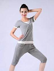 Mujer Yoga Trajes Mangas cortas Rosa / Gris / Negro Yoga M / L / XL