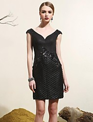 Cocktail Party Dress - Black Plus Sizes Sheath/Column V-neck Knee-length Lace / Satin