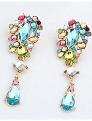 Masoo Women's Hot Selling Color Gem Water Drop Earrings