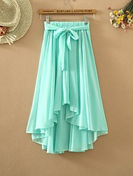 Women's Casual Micro-elastic Medium Asymmetrical Skirts (Chiffon) (More Colors)
