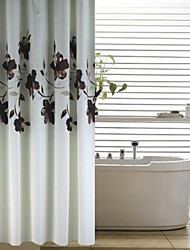 Modern Ink Brown Floral Peach Finish Shower Curtain