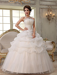 Ball Gown / Princess Wedding Dress-Floor-length Strapless Organza
