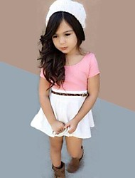 Girl's Summer Micro-elastic Thin Short Sleeve Dresses (Cotton Blends)