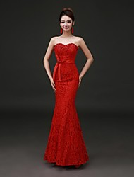 Formal Evening Dress - Ruby Plus Sizes Trumpet/Mermaid Strapless Floor-length Lace / Stretch Satin
