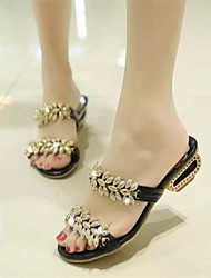 Zapatos de mujer - Tacón Robusto - Punta Abierta - Sandalias - Vestido - Semicuero - Negro / Blanco / Oro