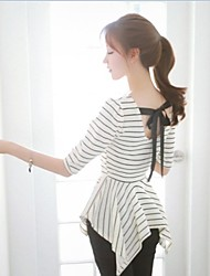 Women's Casual/Simplicity /Vintage Micro-elastic Stripes Blouse(Knit)