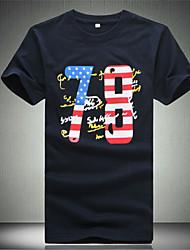 ronde kraag vlag afdrukken met korte mouwen t-shirts voor mannen (meer kleuren)