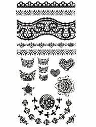 1PC 3D Black Nail Art Stickers Lace Nail Wraps Nail Decals Star Heart Nail Polish Decorations