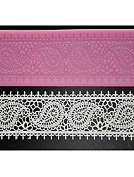 FOUR-C Cake Supplies Lace Silicone Mat Lace Mold for Sugar Craft,Silicone Mat Fondant Cake Tools Color Pink