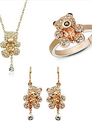 ZGTS  Women's Lovely Bear Shape Shinny 18K Gold/Silver Plated Rhinestone Necklace Earring Ring Set