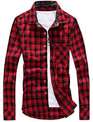 Masculino Camisa Casual / Tamanhos Grandes Xadrez Manga Comprida Algodão / Poliéster Vermelho