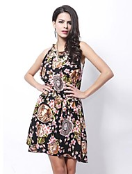 Women's Round Collar Big Size Beach Floral Print Sleeveless Dress