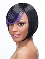 Top Quality Black&Purple  Fashion Middle Long  Bob Wig Woman's Synthetic Wigs Hair Straight Party  Wig