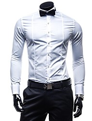 Men's Formal Pure Long Sleeve Dress Shirts (Cotton/Polyester)