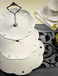 Cake Toppers  Party 3 Tier Silver/Gold Ceramic Cake Plate