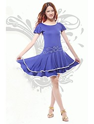Latin Dance Latin Dance Performance Women's Polyester Rhinestone Square Dance Performance/Training Dress(More Colors)