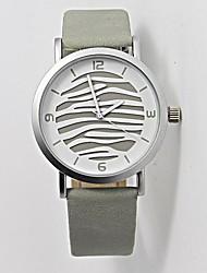 Women's Fashion Silver Zebra Design Circular Alloy Dial  PU Leather Strap Quartz Movement Wrist Watches