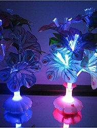 Optical Fiber Flowers Colorful Peacock Feathers Vase LED Night Light