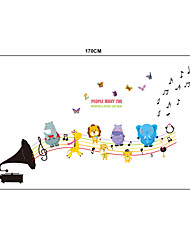Cratoon Jumping Animals Notes PVC Wall Stickers