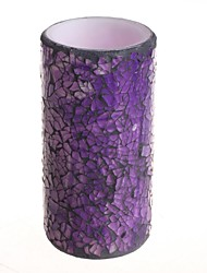 Home Impressions™ 3*6 Inch Purple Mosaic Glass with Flameless Led Candle with Timer,Work with 2 AA Batteries