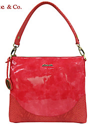Kate&Co Women's Red Pvc Italian Style Luxury Mirror Surface Shoulder Bag