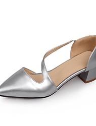 Chaussures Femme - Bureau & Travail / Habillé - Noir / Argent / Beige - Gros Talon - Talons / Bout Pointu - Talons - Similicuir