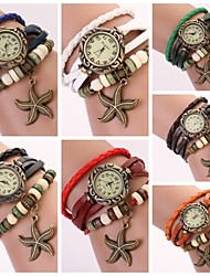 Women's Round Dial Multi-layer Band Starfish Pendant Quartz Analog Fashion Bracelet Watch (Assorted Color) Cool Watches Unique Watches