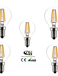 E14 Ampoules Globe LED A60(A19) 4 COB 400 lm Blanc Chaud AC 100-240 V 5 pièces