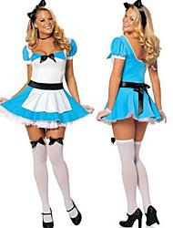 Spaventoso Alice in vestito operato costume di Halloween delle meraviglie donne Blue poliestere