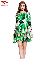 Women's Vintage/Sexy/Beach/Print/Cute/Plus Sizes Micro-elastic Long Sleeve Above Knee Dress (Cotton)
